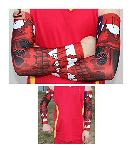 Nexxgen Sports Apparel Compression Arm Sleeve (Single)- 40 Styles and Colors- Men, Women, Youth - Basketball Shooter, Football, Baseball, Lymphedema, Tattoo (Youth Medium, USA - The Shooter Usa