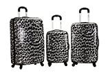 Rockland Luggage 3 Piece Polycarbonate Upright Set, Snow Leopard, One Size