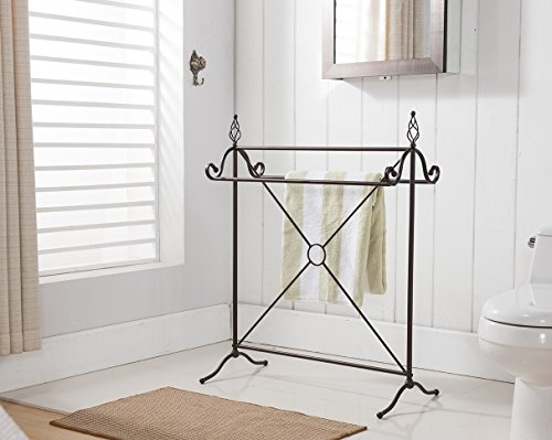 Kings Brand Antique Style Bronze Finish Metal Towel Rack Sta