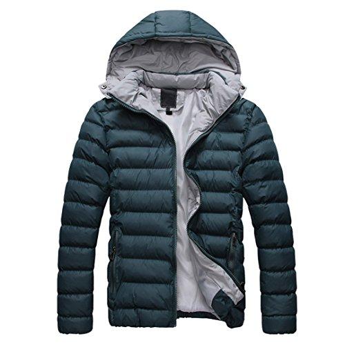 SODIAL (R) 2014 Hombres Caliente Abrigo con capucha sudadera abrigo anorak invierno chaqueta abajo Verde - L