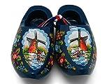 """Decorative Wooden Shoe Clogs Dutch Landscape Design Blue (3.25"""")"""