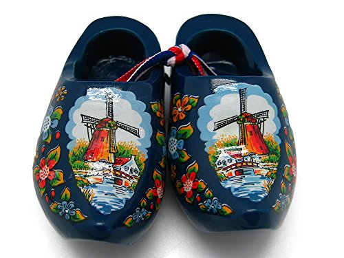 Essence of Europe Gifts E.H.G Decorative Wooden Shoe Clogs Dutch Landscape Design Blue (3.25