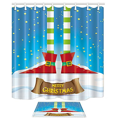 NYMB Winter Festival Decor, Elfs Legs on Snowy North Pole with Christmas Stars, 69X70in Mildew Resistant Polyester Fabric Shower Curtain Suit with 15.7x23.6in Flannel Non-Slip Floor Doormat Bath Rugs ()