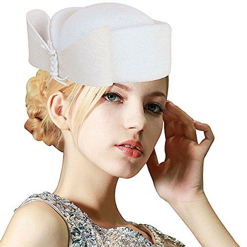 White Wool Hat - Ladies Teardrop Fancy Wool Fascinator Cocktail Pillbox Hat Formal Racing A253 (Ivory)