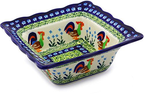 OKSLO Polish pottery 6вѕ-inch square bowl (country rooster theme) signature unikat han