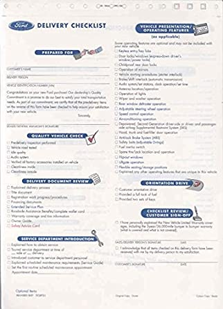 Amazon.com: 1997 1998 Ford Dealer New Car Delivery Checklist Form ...