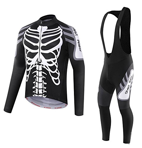 GHOST Thermal long sleeve Jersey & Bib Tight. Use for Winter Autumn & Spring (size:XL)