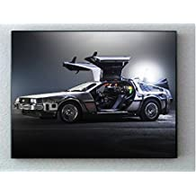 Framed Back To The Future Delorean Time Machine Hi-Res Man Cave Picture