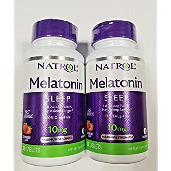 Natrol Melatonin 10mg Fast Dissolve Tablets, Strawberry, 60-Count (Pack of 2)