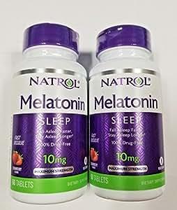 Natrol Melatonin 10mg Fast Dissolve Tablets, Strawberry, 60-Count (Pack of 2)