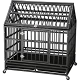 "Cheap ITORI 42"" Roofstyle Heavy Duty Metal Dog Cage Kennel Crate and Playpen for Training Large Dog and Pet Indoor and Outdoor with Double Doors & Locks Design Included Lockable Wheels and Removable Tray"