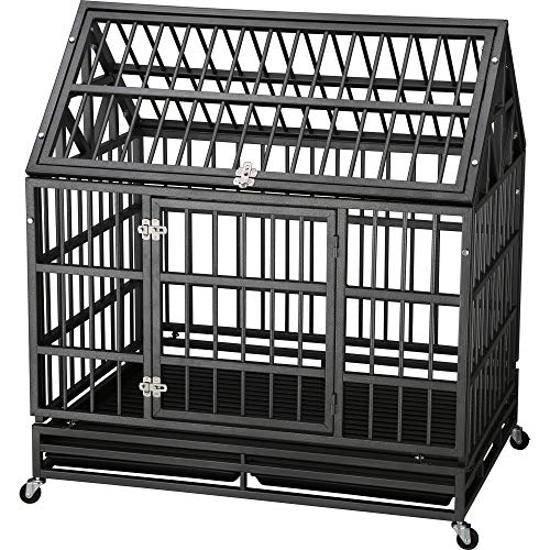 """Cheap ITORI 42"""" Roofstyle Heavy Duty Metal Dog Cage Kennel Crate and Playpen for Training Large Dog and Pet Indoor and Outdoor with Double Doors & Locks Design Included Lockable Wheels and Removable Tray"""