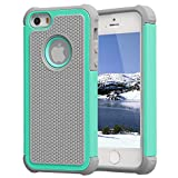 Iphone 5 Case,Iphone 5s Case,iphone SE case,jo-box-mall Lightweight and Convenient Dual Layer Shockproof Case Hard Pc Outer Shell with Soft Inner Tpu Hard Cover(Hot Blue)