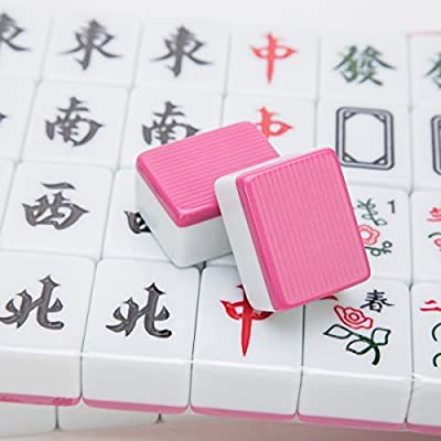 THY COLLECTIBLES Traditional Chinese Mahjong Game Set 144 + 2 Spares Pink Color Tiles: Toys & Games