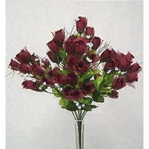 70 Mini Rose Buds Wine Burgundy Silk Wedding Bridal Bouquet Craft Flowers 2