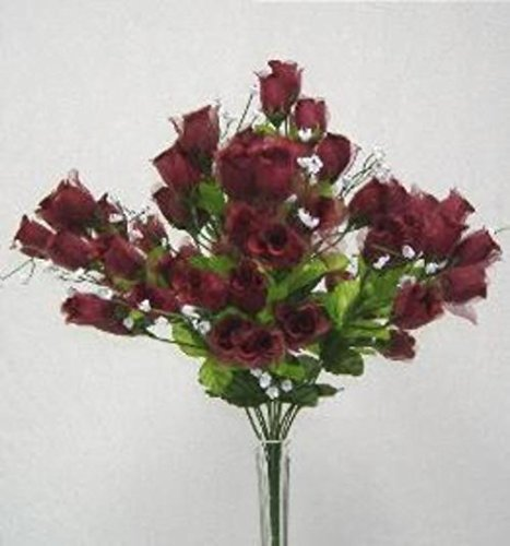 70-Mini-Rose-Buds-Wine-Burgundy-Silk-Wedding-Bridal-Bouquet-Craft-Flowers