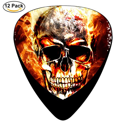 STREMUSIC Cool Skull in der Fire Badether Celluloid Electric Guitar Picks 12-pack Plectrums For Bass Music Tool (In Der Hook)