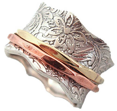 (Energy Stone Balance and Beauty Etched Floral Patterned Meditation Spinning Ring (Style# USA88) (6.5))