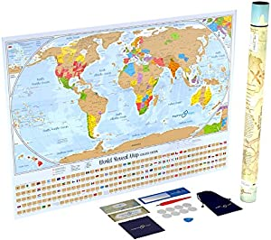 Amazon giveaway scratch off world map poster with 232 world flags amazon giveaway scratch off world map poster with 232 world flags us states and canadian provinces outlined designed by us cartographer gumiabroncs Image collections