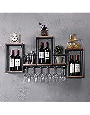 DIFU Vinställ trä flaskställ vinhållare vägg med vinglashållare vägghylla metall väggmontering vinflaskhållare dekorativ hylla upp till 30 kg