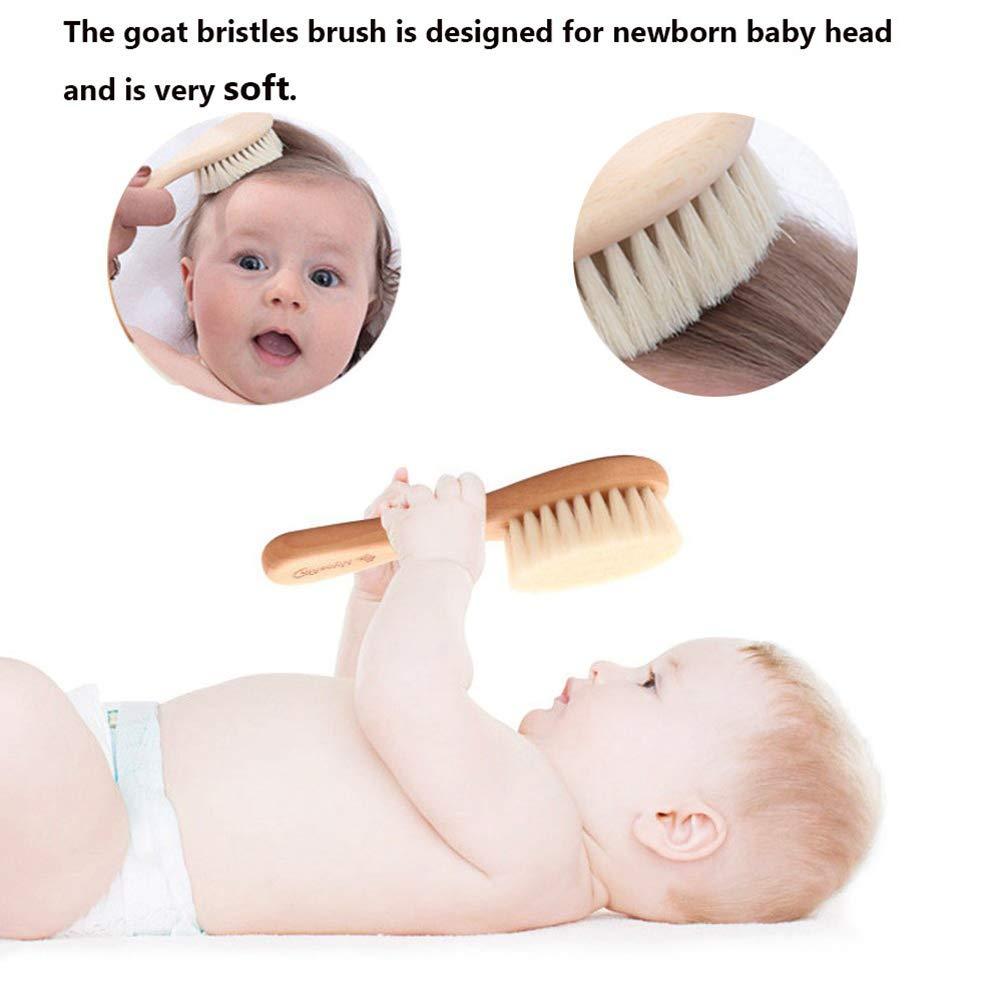 Fovely Cepillos para el Cabello del beb/é masajear el Cuero cabelludo para reci/én Nacidos Juego de 2 manijas de Madera Natural con cerdas s/úper Suaves para cepillar Suavemente el Cabello del beb/é
