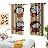 Linen Curtains Funny,Musician People Icons with Guitar Headphones Hip Hop Boy DJ Emo Song Star Print,Sand Brown White...