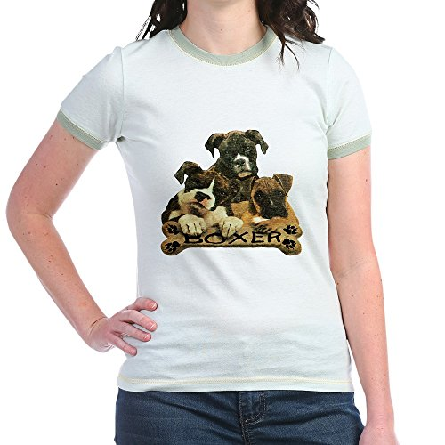 Royal Lion Jr. Ringer T-Shirt Boxer Trio with Bone Name Plate - Mint/Avocado, Large