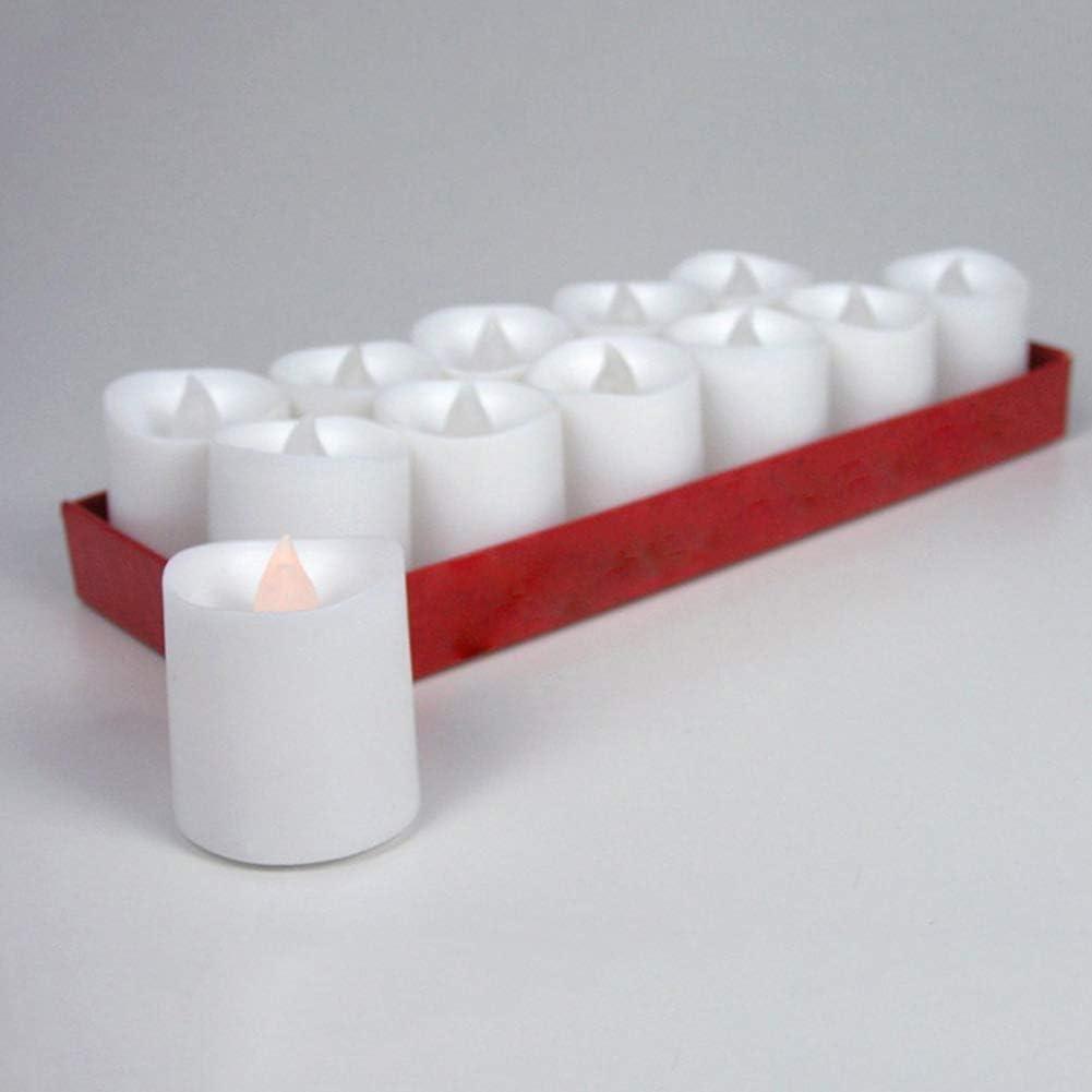 LYCOS3 Lot de 24 Bougies sans Flamme 12pcs f/êtes et Mariages Bougies votives vacillantes /à LED pour f/êtes White-Flicker Yellow