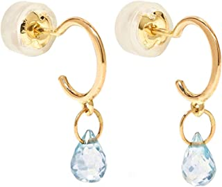 product image for Melissa Joy Manning 14k Gold Tiny Hoop Earrings in Blue Topaz