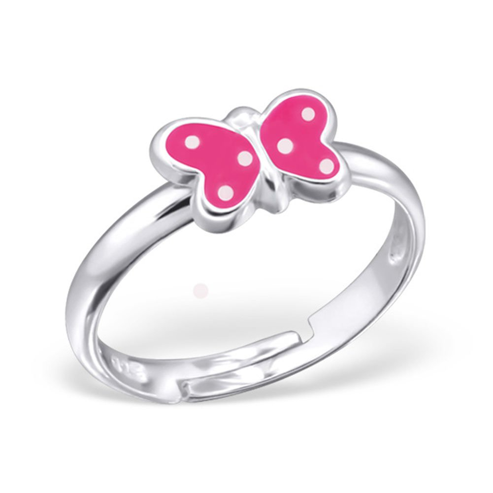 Cute Butterfly Ring Pink Purple Girls Sterling Silver 925 Size Adjustable (Pink)