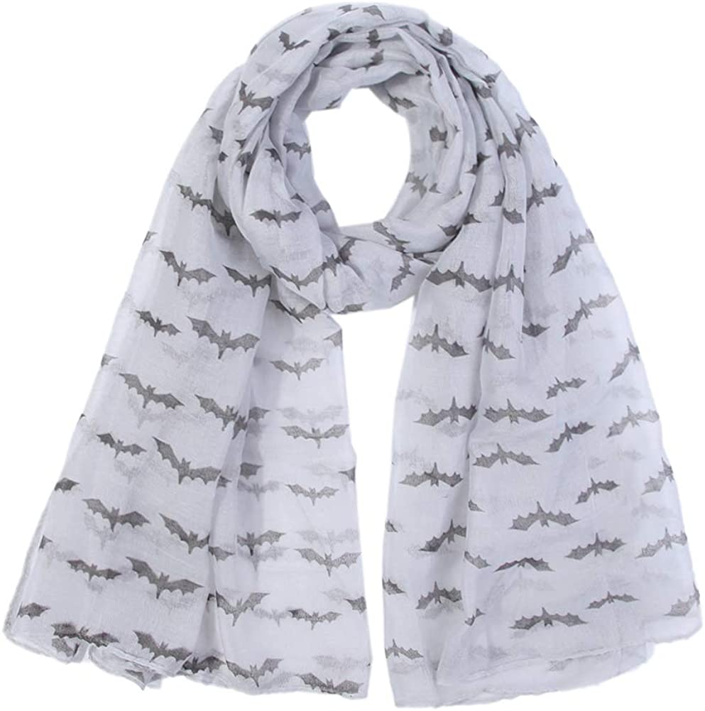 Culer Halloween Scarf Bat Print Loop Scarves Soft Blanket Voile Lightweight Wraps Shawl for Women Girl