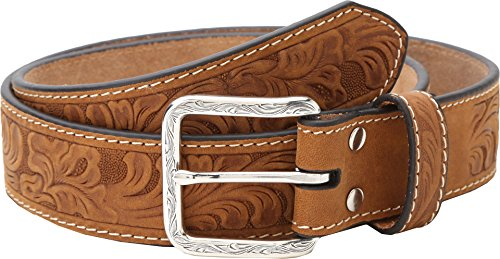 Nocona Belt Co. Men's Floral Embose, Medium Brown, 38