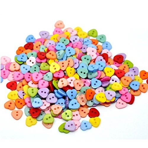 Heart Shaped Multicolor 2 Holes Resin Sewing Buttons for Sewing /Scrapbooking /Knitting (Random Color) (Heart Sewing)