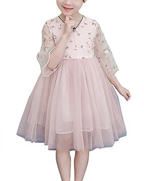 Yonglan Bordado Flores Vestido De Princesa Para Niñas Manga Larga Retro Verano Casual Fiesta Tul Vestidos