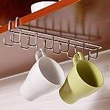 Booluee Stainless Steel Coffee Mug Holder 12 Hooks Under Shelf Mugs Cups Wine Glasses Storage Drying Holder Rack