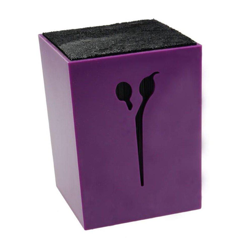 Ozzptuu Professional Salon Hair Stylist Scissors Rack Holder/Organizer/Storage Box/Block for Hairdressing Barber Combs Clamps (Purple)