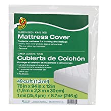 "Duck Brand 1140236 King or Queen Sized Mattress Cover, 76"" x 94"" x 12"", Clear"