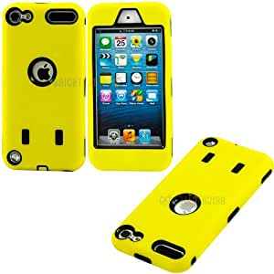 """myLife Sun Glow Yellow + Black Layered Survivor (Slim Infinity Impact Guard) Hybrid 3 Layer Case for Apple iPod 5 (5G) 5th Generation iTouch (External Silicone Bumper Flex Gel + Internal 2 Piece Rubberized Snap On Protector) """"""""ATTENTION: This case comes with a easy grip external gel that is easy to grip when you hold your phone, yet slides easily in to your pocket without gripping on to the fibers"""