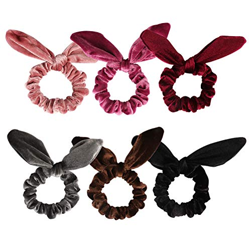 Chanaco 6 Pack Hair Scrunchies Velvet Scrunchy Hair Bobbles Elastic Hair Bands Ponytail Holder Rabbit Ear Style Hair Ties, 6 Colors ()