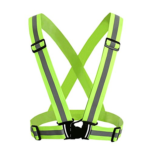 Safety Reflective Vest Sports Gear | Lightweight, Adjustable & Elastic | Safety & High Visibility for Running, Jogging, Walking, Cycling | Fits Over Outdoor Clothing - Motorcycle Jacket/Gear ()
