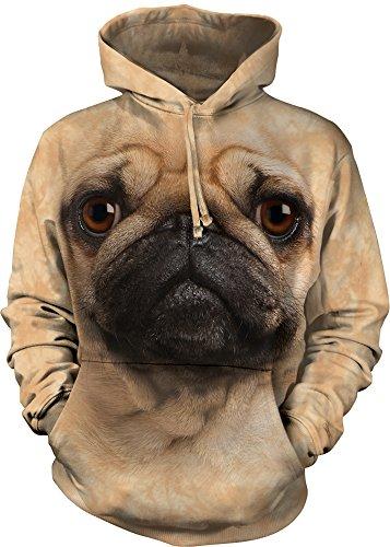 Hoodie Pug (The Mountain Pug Face Hoodie, Medium, Tan)