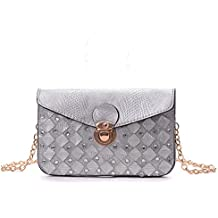YOUNA Ladies Classic Crocodile Pattern Leather Envelope Clutch Wallet with Drop-in Chain Shoulder Strap