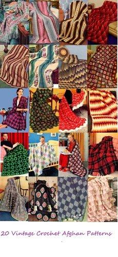 Vintage Crochet Afghan Patterns - 20 Handmade Vintage Crochet Afghan Patterns - Granny Afghan, Ripple Afghan, Chevron Afghan, Diamond Afghan and More!