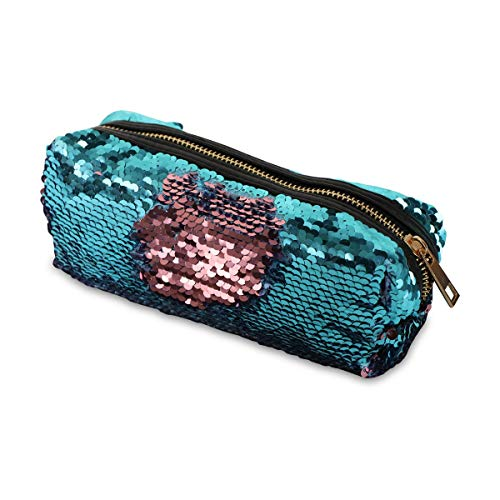 (Makeup Cosmetic Bag | Students Pencil Case Pouch Bag Glitter | Reversible Mermaid Sequin Kids Pouch Women Fashion Handbag - Aqua and Pink)