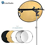 LimoStudio Swivel Head Reflector Support Holder Arm, Boom Stand Arm Bar with 32 Inch Diameter 5 Color in 1 Round Collapsible Reflector Disc Panel, Hand Held, Boom Stand Kit, Photo Studio, AGG2083