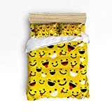 Emoji Collection Microfiber Sheet Set IDOWMAT King Duvet Cover Sets 4 Piece Bedding Set Bedspread with 2 Decorative Pillow Shams, Flat Sheet for Adult/Kids/Teens/Children, Ultra Soft Microfiber Luxury Plush Collection - Cute Emoji