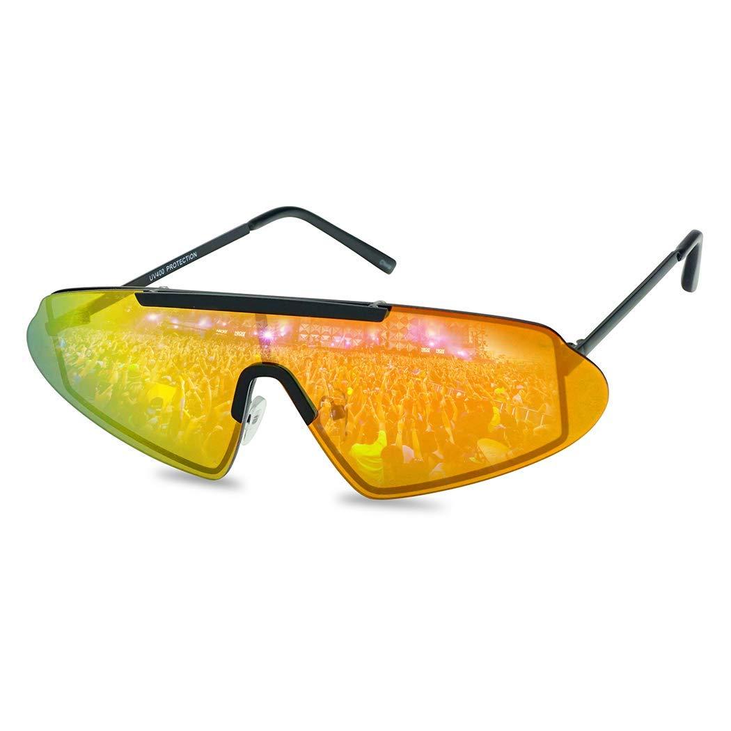 7449cf3e2 SunglassUP Super Retro 80's Futuristic Narrow Shield Metal Sunglasses with  Reflective Mirrored Lenses (Black Frame | Fire Red) at Amazon Women's  Clothing ...