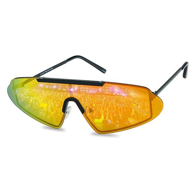 f2ca427f149 SunglassUP Super Retro 80 s Futuristic Narrow Shield Metal Sunglasses with  Reflective Mirrored Lenses (Black Frame
