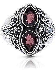 Koral Jewelry Garnet 2 Stones Gipsy Vintage Ring 925 Sterling Silver US Size 6 7 8 9