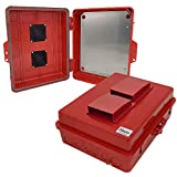 Altelix Vented Red NEMA Enclosure 12'' x 8'' x 4'' Inside Space Polycarbonate + ABS Weatherproof Tamper Resistant NEMA Box with Aluminum Equipment Mounting Plate